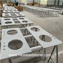 Hot Italy Bianco Carrara Marble Vanity Countertops