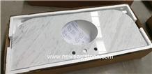 Prefab Carrara White Marble Bathroom Vanities Tops
