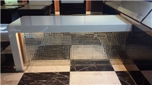 Dining Table Of Pure White Nano Crystallized Stone