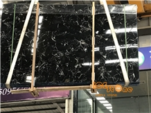 Chinese Black Ice Flower Marble Slabs & Tiles