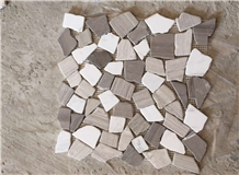 Athen Grey Wooden Irregular Shape Crazy Mosaic