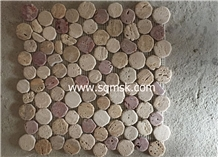 Multicolor Travertine Round Pebble Stone Mosaic