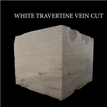 White Travertine, Light Travertine Blocks Vein Cut