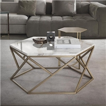 Hexagon Cate Tables Top Polish Calacatta White