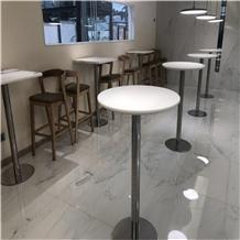 Nano White Crystal Glass Stone Restaurant Tables