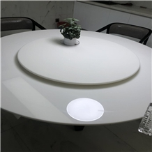 Nano White Crystal Glass Table Top Round Cafe Top