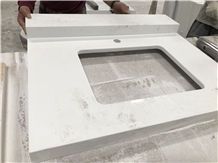 Pure White Crushed Recycled Glass Bathroom Tops