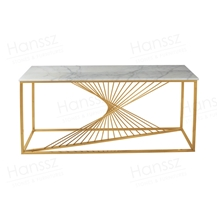 Natural Square Marble Console Table Gold Plat