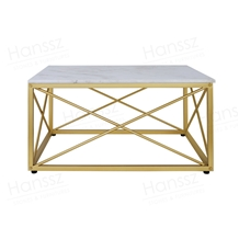 White Rectangular Box Marble Coffee Table