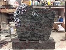 Verde Venato Granite Headstone Grape Carving