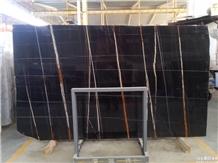 Nero Sahara St. Laurent Marble Slab, Black Marble Floor Tiles