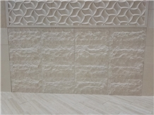 Split Face Fatima Beige Limestone 3d Cnc Carving Wall Panel Tiles,Building Exterior Project