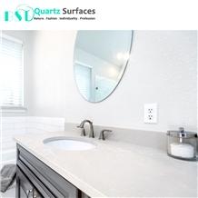 Artificial White Quartz Stone Slab for Bathroom Countertop