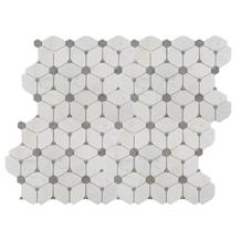 White Irregular Marble Mosaic Tile for Bathroom