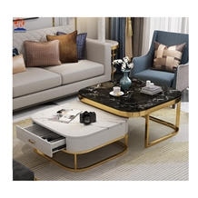 Modern White Marble Top Gold Coffee Table