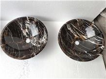 Portoro Gold Marble Round Stone Basin Vessel Sinks