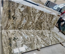 Alaska Gold Granite Slabs, Alaska White , Blue Doons