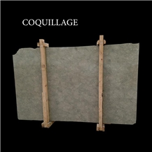 Coquillage, Green and Gray Limestone Slabs