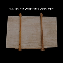 White Travertine, Light Travertine Vein Cut Slabs