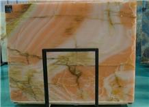 Pink Onyx Slab Wall Pattern Cladding Tiles