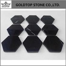 Graceful Design Black Nero Marquina Marble Coaster