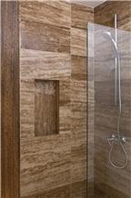 Travertino Oscuro Bathroom Wall