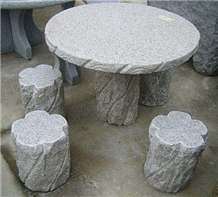 Sesame White Tea Tables, Chair, Round Tables,Garden Stone Furniture