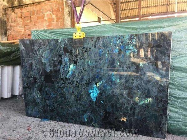 Lemurian Blue Granite Tiles Azul Labradorite Slab Cut To