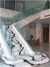 Panda White Marble Stairs & Step,Risers Interior Lobby Project