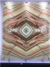 Rainbow Onyx Background Panel Backlit Book Match
