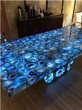 Blue Agate Gemstone - Semiprecious Stone Table Tops