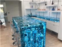 Blue Agate Gemstone Slabs Bar Tops Countertops