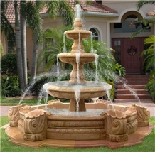 China Yellow Marble Outdoor Garden Water Fountain