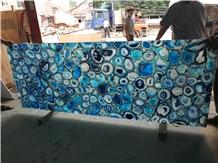 High Polished Backlit Blue Agate Gemstone Slabs