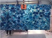 Wholesale Backlit Blue Agate Gemstone Slabs