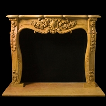 Yellow Marble Fireplace Mantel with Column Covering for Villa,Interior Stone Simple Design
