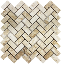 Cappuchino Marble Polished Herringbone Mosaic