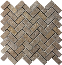 Noce Travertine Tumbled Herringbone Mosaic