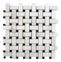 White and Black Marble Polished Basketweave Mosaic