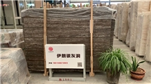 Silver Travertine Slab in Stock Shuitou Showroom