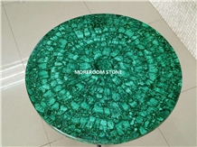 Gemstone Round Table Top Malachite Green Furniture