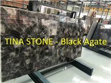 Black Agate Gemstone Precious Stone Slabs Tiles