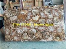 Brown Agate Gemstone Precious Stone Slabs Tiles
