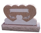 Brown Red Granite Double Heart Shape Monuments