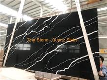 Quartz Slabs Black Tiles Wall Floor Covering