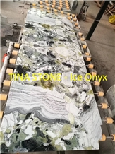 White Ice Flake Jade Marble Slabs for Walling