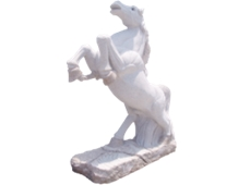 White Stone Jumping Hourse Animal Sculptures