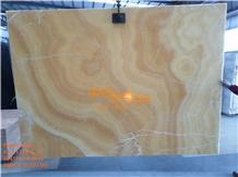 China Honey Yellow Orange Onyx Slabs Tiles
