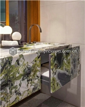 White Beauty Ice Connect Green Marble Kitchen Top