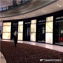 Polished Translucent Onyx Mall Wall Panel